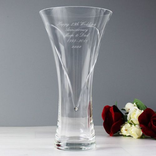 Personalised Hand Cut Diamante Heart Vase with Swarovski Element